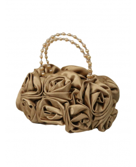 Gold Satin Ruffle Rose Flower Girls Handbag. View of the handbag.