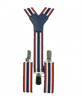 Young Children's adjustable elastic Y-Back Striped Brace with Bow Tie Set in White and Navy