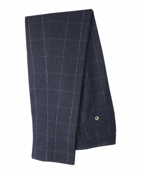 Designer Men's Angels Slim Fit Navy Blue Windowpane Check Trousers