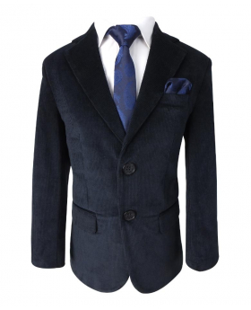 View of the blazer jacket with shirt, tie and hanky of the Boys Regular Fit Corduroy Velvet Navy Blue Dinner Blazer