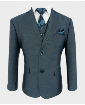 Joe Cooper Boys Tailored Fit Textured Like Dark Blue Suit 6 Piece Set with a blue paisley tie and matching hankie- Front Side close
