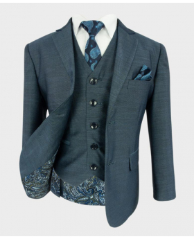 Joe Cooper Boys Tailored Fit Textured Like Dark Blue Suit 6 Piece Set with a blue paisley tie and matching hankie- Front Side Open