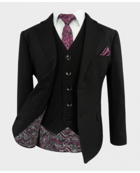 Joe Cooper Husky Tailored Fit Texture Like Black Suit-Front Side