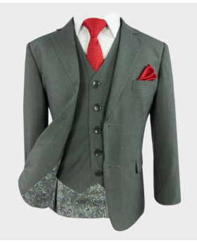 Joe Cooper Husky Tailored Fit Texture Like Grey Suit with a vibrant red spotty tie and matching hankie