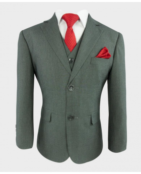 Joe Cooper Husky Tailored Fit Texture Like Grey Suit with a vibrant red spotty tie and matching hankie- Close Jacket