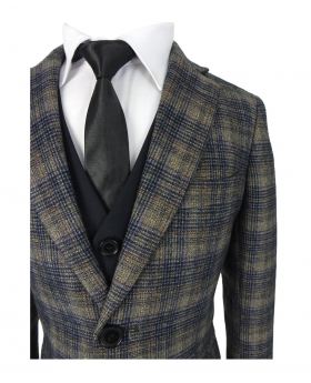 Romano Woven Effect Slim Fit Navy & Brown Check Suit