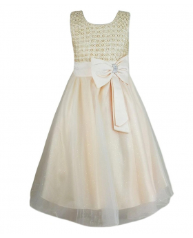 Girls New Diamante Big Bow Beaded Dress in Beige