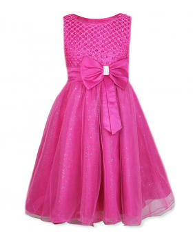 Girls New Diamante Big Bow Beaded Dress in Fuchsia