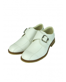 Boys Leather Buckle Fastening White Communion Shoes by Sebastian Le Blanc