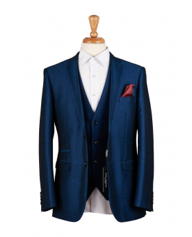 Paul Andrew Mens & Boys Sheen Effect Royal Blue Wedding 3 Piece Suit with accessories front open picture