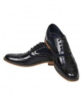 Men's Black & Navy Lace up Leather Brogues Suede Shoes
