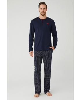 Men Comfortable Elegant Pyjama 2 Pieces Set in Navy Blue Front