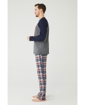 Men Comfortable Pyjama 2 Pieces Set in Navy Blue Front Picture Side Picture