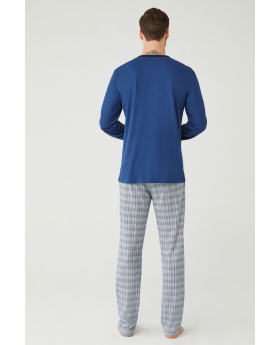 Men Comfortable Stylish Pyjama 2 Pieces Set in Blue Back
