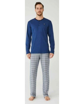 Men Comfortable Stylish Pyjama 2 Pieces Set in Blue Front
