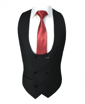 Men Formal Double-Breasted Waistcoat in Black