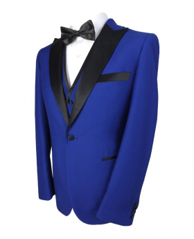 Men Formal Tuxedo Suit Tailored Fit 3 Piece Set in Royal Blue Side Picture