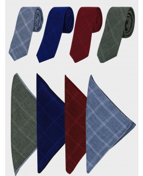 Men's and Young Boys Tweed Windowpane Check Slim Tie Set with matching hankie in grey-blue, navy blue, burgundy, green  front picture