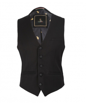 Men's Black Slim Fit Formal Waistcoat for wedding office - full printed lining