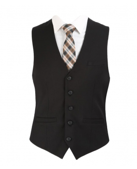 Men's Black Slim Fit Formal Waistcoat for wedding office business with shirt and tie
