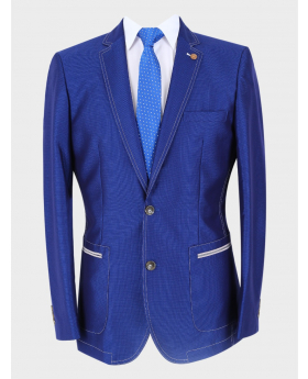 Men's Casual Slim Fit Blazer in Royal Blue with accessories front picture