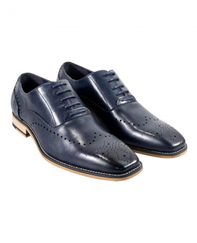 Italian Couture Men's Cavani Navy Perforated Lace up Leather Brogues