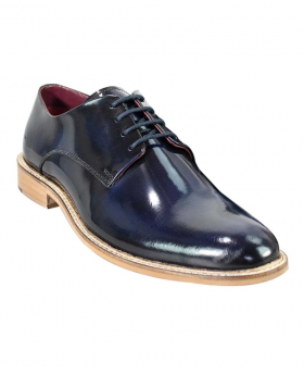 Men's Italian Couture Navy Blue Patent Leather Signature Oxford Shoes