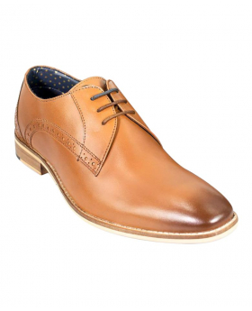 Men's Tan Brown Signature Brogue Oxford Leather Formal Lace Up Shoes