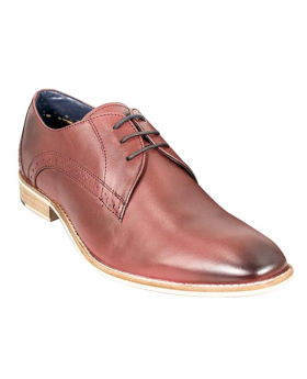 Men's Cherry Red Signature Brogue Oxford Leather Formal Lace Up Shoes