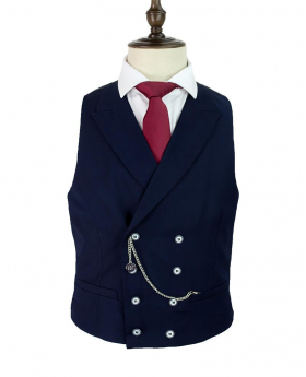 Men's Cavani Lennox Navy Blue Slim Fit Retro Double Breasted Waistcoat-chain detail