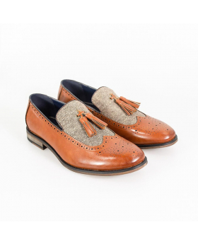 Men's Cavani Lucius Leather & Fabric Moccasins Loafers Shoes in Tan Brown - Side
