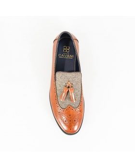Men's Cavani Lucius Leather & Fabric Moccasins Loafers Shoes in Tan Brown - Top