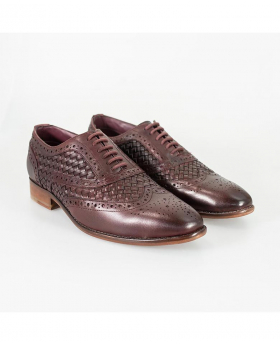 Mens Cavani Orion Designer Signature Genuine Leather Peaky Blinder Woven Retro Brogue Oxford Dress Shoes