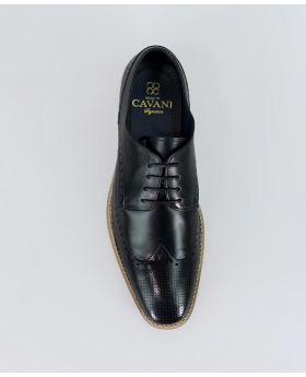 Mens Cavani Rome  Italian Couture Black Signature Brogue Leather Lace Up Shoes