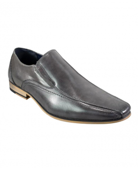 Italian Couture Men's Grey Slip on Loafer Leather Shoes
