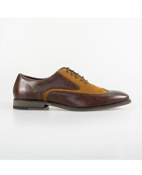 Italian Couture Men's Tan and Brown Suede Leather Lace Up Oxford Shoes