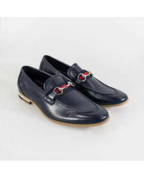 Men's Cavani Yale Italian Couture Navy Blue Slip on Moccasins Loafer with Clip Detail - Pair