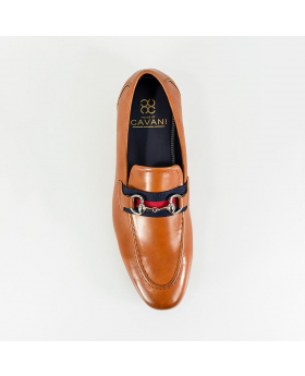 Men's Cavani Yale Italian Couture Tan Brown Slip on Moccasins Loafer with Clip Detail - Top