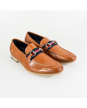 Men's Cavani Yale Italian Couture Tan Brown Slip on Moccasins Loafer with Clip Detail - Pair