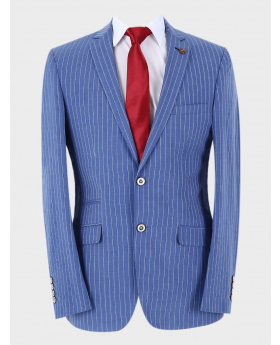Men's Classic Slim Fit Pinstripe Business Jacket in Blue with accessories front picture