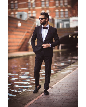 Men's Designer Black Slim Fit Textured Tuxedo Suit for wedding and special occasion