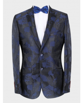 Men's Embellished Wedding Groom Slim Fit Blazer in Navy Blue  with accessories front picture