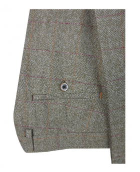 Men's Gaston Sage Retro Tweed Check Trousers