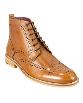 Men's Signature Leather Tan Brown Retro Brouge Lace Up Boots