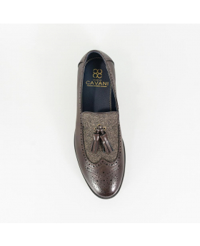 Men's Italian Couture Leather & Fabric Moccasins Loafers Shoes in Brown - Top