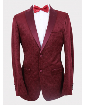 Men's Jacquard Slim Fit Wedding Groom Tuxedo Blazer in Burgundy with accessories front picture