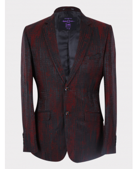 Men's Jacquard Wedding Groom Blazer in Black and Red front picture