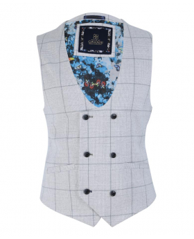 Men's Light Grey Retro Check Double Breasted Waistcoat-full lining
