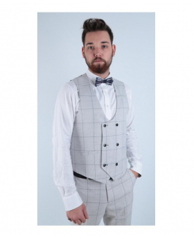 Men's Light Grey Retro Check Double Breasted Waistcoat-modle