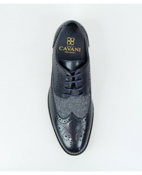 Men's Navy Lace up Leather & Tweed XL Big Size Brogue Shoes-Top